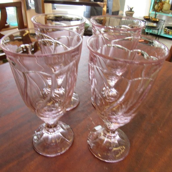 Set of 4 Large Lavender Noritake Water Goblets